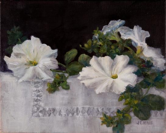 White Petunias  5'' x 7''