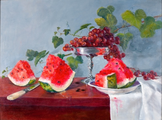Watermelon and Grapes 18''x24''
