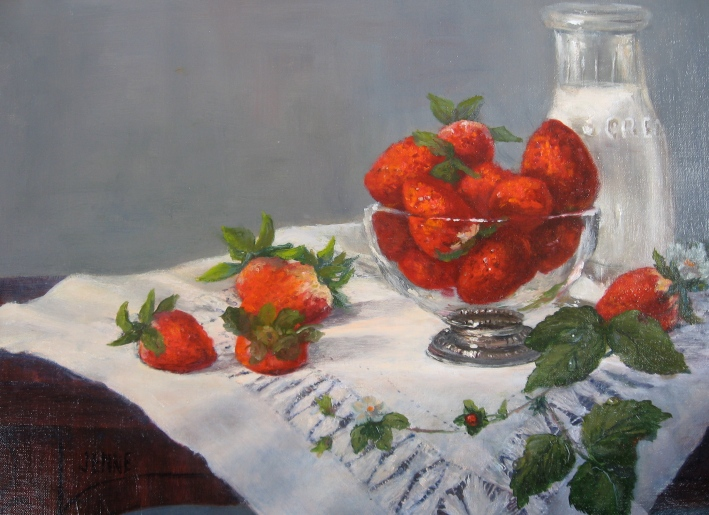 Just Picked Strawberries  11'' x 14''